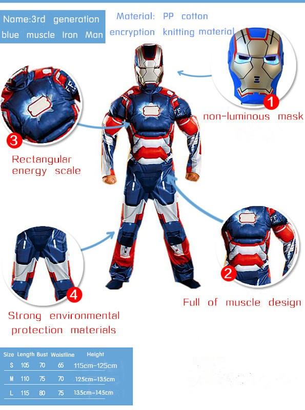 Iron Man Mark Patriot Muscle Child Kids Halloween Costume Fantasia Avengers Superhero Cosplay Outfit (1)