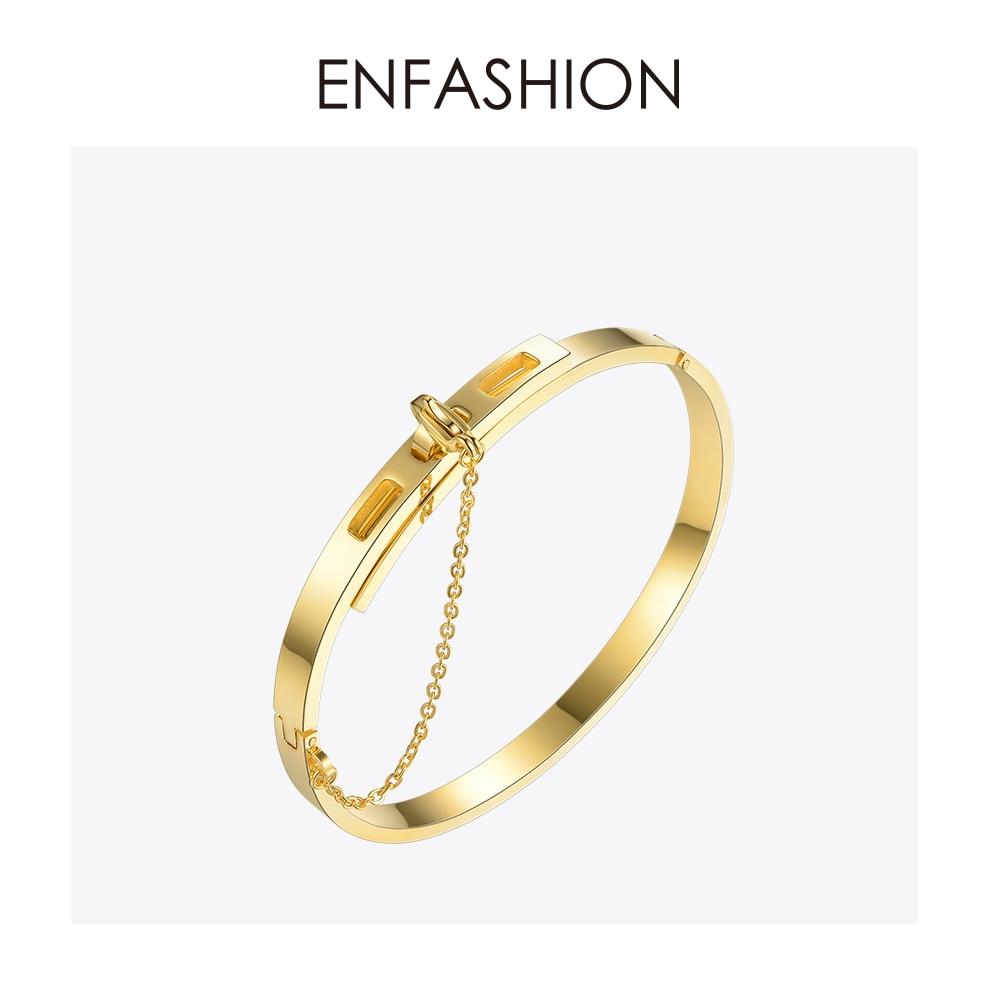 Enfashion Säkerhetskedja Manschettknapp Noeud Armband Guldfärg - Märkessmycken - Foto 1