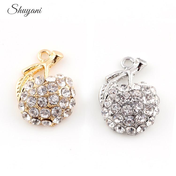 24*18mm Clear Crystal Fruit Apple Dangle Pendant Silver Plated Bracelet Jewelry Findings