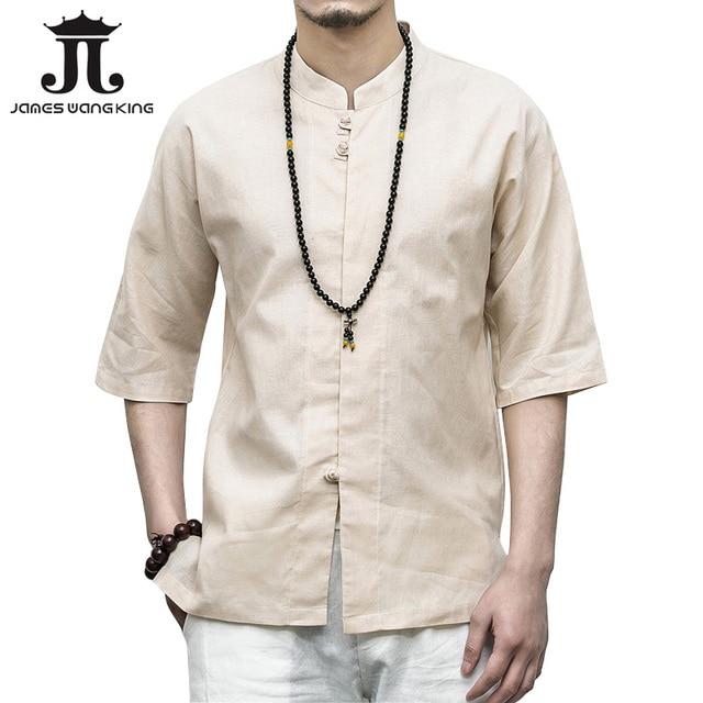 129d15c7e7 Camisa de lino hombres camisas tres cuarto manga 2018 ropa de verano para  hombre del Collar