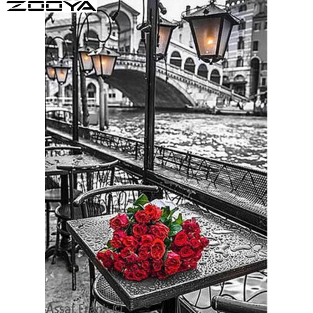 ZOOYA Diamante Completo Bordado Pintura Rosas Artesanía Diy 5D Ronda - Artes, artesanía y costura