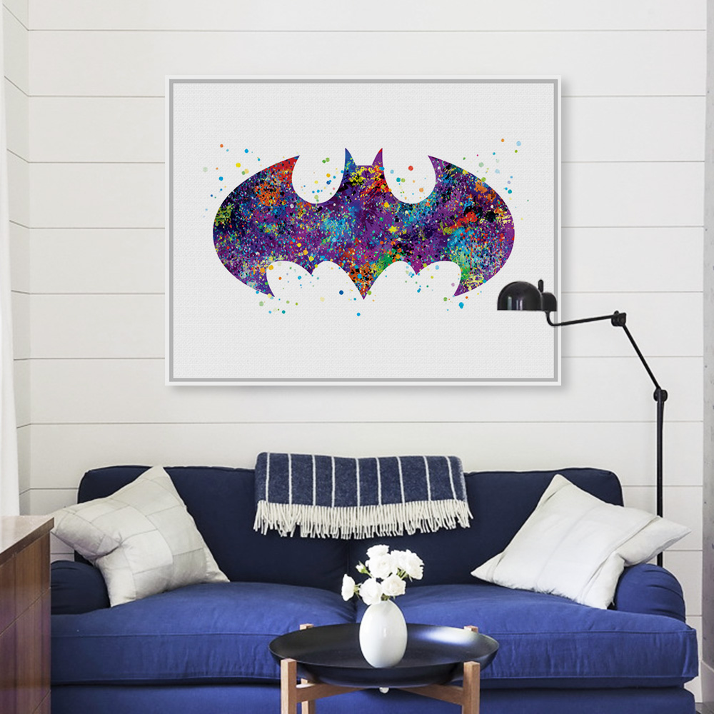 Original Watercolor Batman Logo Movie Anime Art Print Poster Abstract Wall Picture Canvas