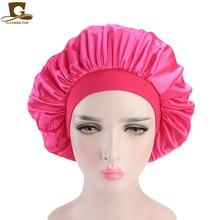 Удобная однотонная широкая лента шелковистая Шапочка колпак для сна Ночная шапка выпадение волос шапка-тюрбан химиотерапия шляпа женские аксессуары для волос