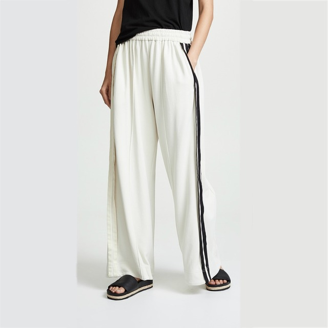 a215fbc4be4d4 Black side stripe white stretchy waist workout palazzo pants for women  ladies casual handsome loose gymnastic wide leg pants