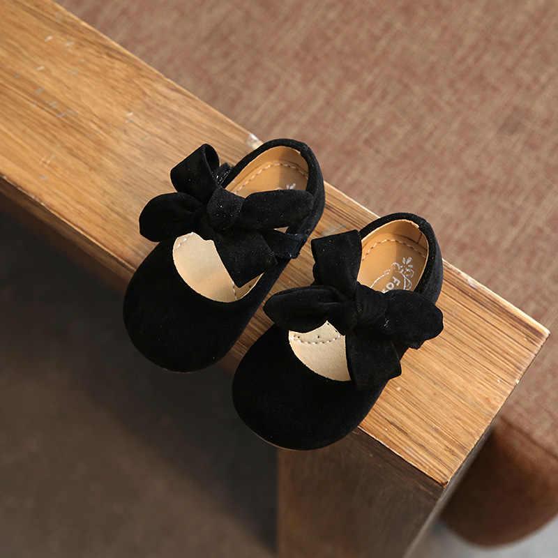 0-4Y Baby Meisjes Echt Lederen Schoenen Eenvoudige Pure Strik Zwarte Baby Meisjes Flats Beige Prinses Partij Zachte Jurk Schoenen Peuter