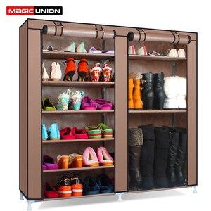 Image 1 - Magic Union Simple étagère à chaussures assemblage à la maison multicouche dortoir stockage chaussures étagère anti poussière chaussures étagère tissu chaussures armoire