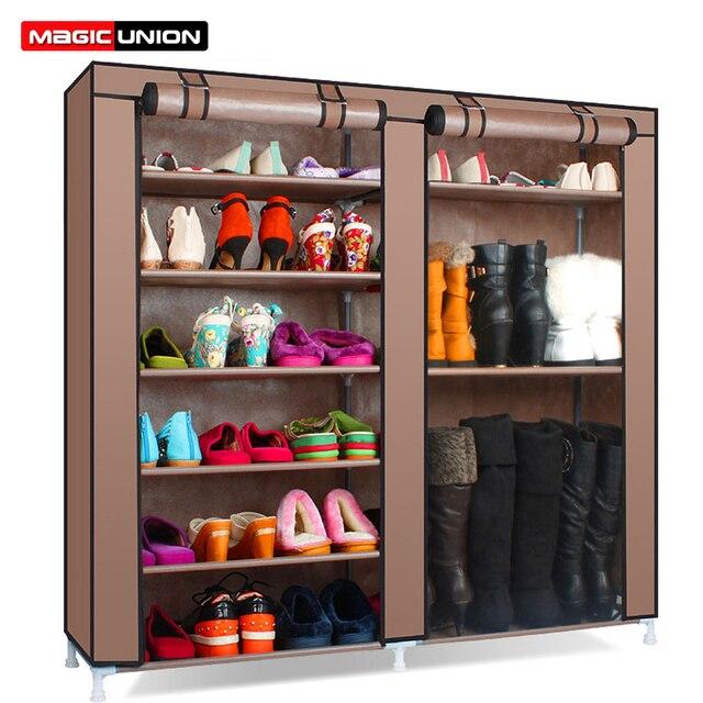 Magic Union Simple étagère à chaussures assemblage à la maison multicouche dortoir stockage chaussures étagère anti poussière chaussures étagère tissu chaussures armoire