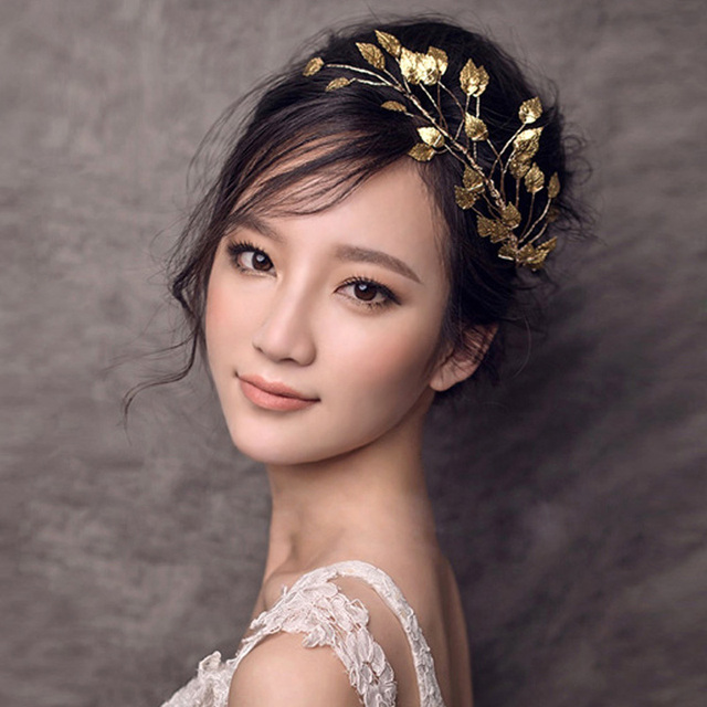 Women Romantic Gold Color Leaf Branch Bridal Bridesmaid Headband Handmade  Headpiece Wedding Hair Accessories Veil Jewelry 4bcb1ce8c1f