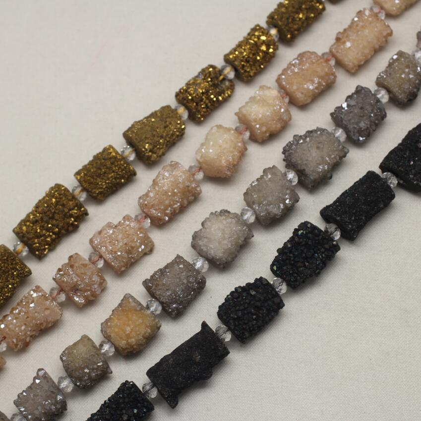 4 цвета, Полный Strand большой Титан Druzy Drusy Коренастый Свободные шарики Jewelry пробурено естественный купля Geode самородок Плиты Бисер