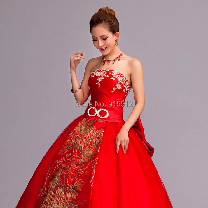 New Arrival Traditional Strapless Phoenix Patterns Ball Gown Red ...