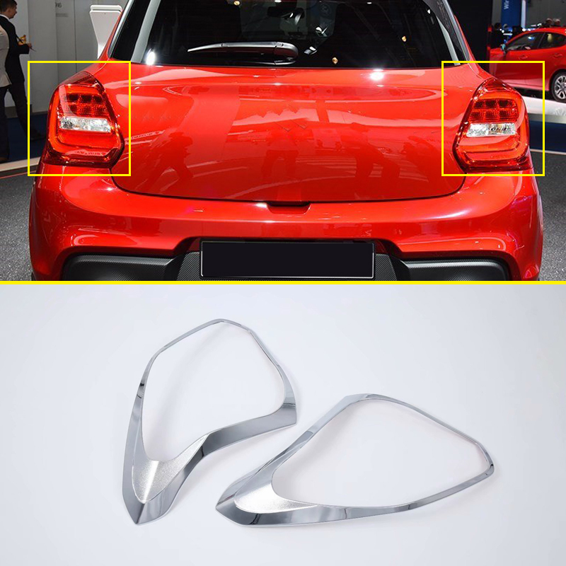 For Suzuki Swift Hatchback 2018 2019 ABS Chrome Rear Tail Light Lamp Bezel Cover Trim 2pcs
