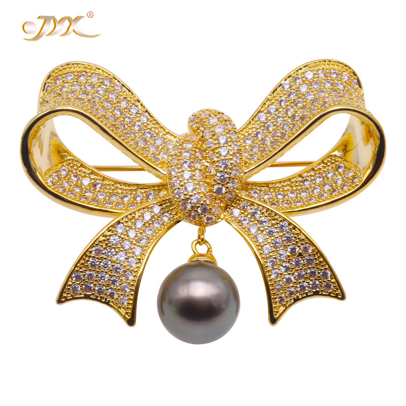 JYX Lucky Brooches Luxurious Brooch bowknot shape brooches 11.5mm natural Peacock-green Tahitian Pearl Pin Pendant womenJYX Lucky Brooches Luxurious Brooch bowknot shape brooches 11.5mm natural Peacock-green Tahitian Pearl Pin Pendant women