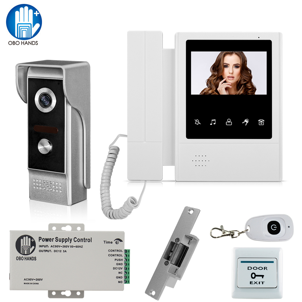 Home Wired Video Intercom Door Phone System with Electric Lock IR Night Vision Camera Doorbell+Power Supply+ Exit Button+ Remote diy lock system metal keypadl k2 electric control lock 3a power supply exit button 10pcs key cards wireless remote control