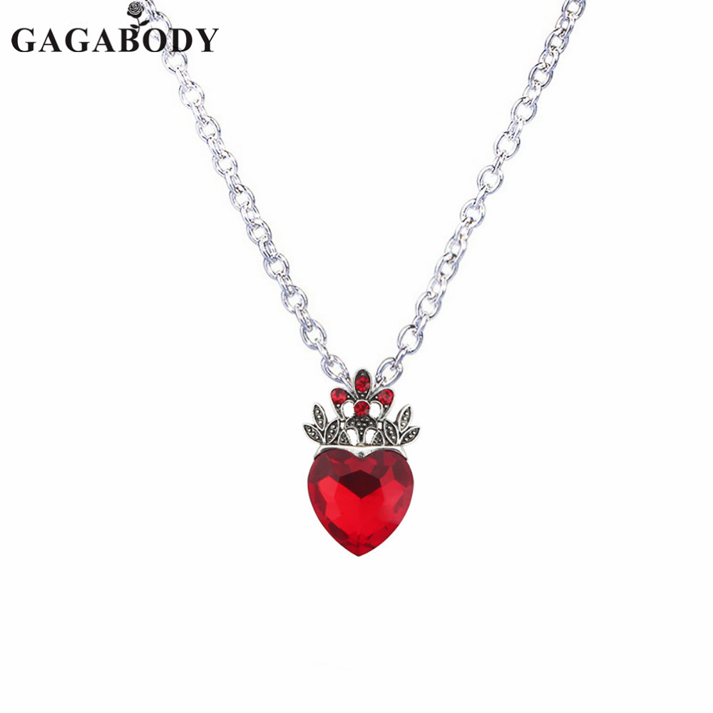 Valentine's Day Evie Necklace Descendants Red Heart Crown Necklace Queen of Hearts Costume Fan Jewelry Pre Teen Gift for Her image