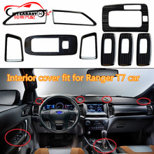 CITYCARAUTO 9PCS/SET STAINLESS STELL INTERIOR WINDOWS PLATE COVER Interior button panel Cover FIT FOR  RANGER T7 2015-2017