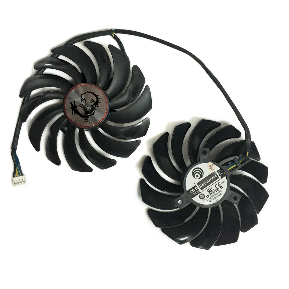 2pcs/lot cooler Fans RX580 RX480 Video Card cooling fan For Radeon RX 480 MSI RX 580 asic bitcoin mine GPU Graphics Card Cooling 2pcs lot computer radiator cooler fans rx470 video card cooling fan for msi rx570 rx 470 gaming 8g gpu graphics card cooling