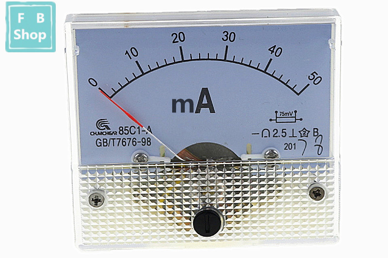 1PCS 85C1-mA 30mA 50mA 100mA 200mA 300mA 500mA DC Pointer Ammeter 85C1 Series Analog AMP Meter 64*56 Mm Size