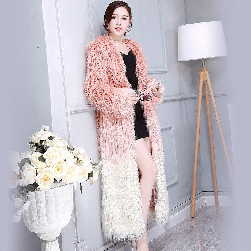 Nerazzurri Winter Lange Faux Bontjas Vrouwen V hals Multi Kleur Mode Slanke Shaggy Pluizige Harige Nep Mongoolse Schapen Bont Jas-in Namaakbont van Dames Kleding op  Groep 1