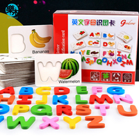 Logwood Baby wooden toys 3D puzzle learning 26 letters wooden puzzle Educational monterssori toy Fruit & Vegetable cognition toy