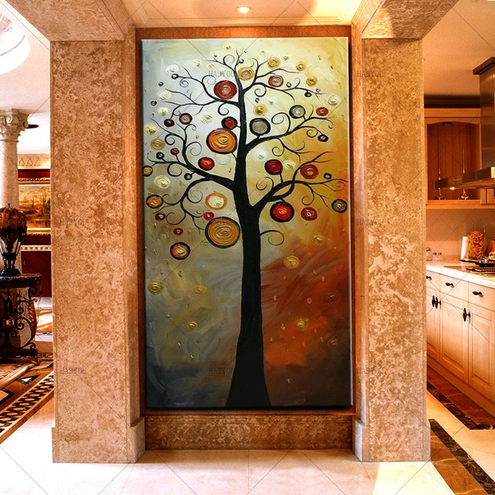 Wall Decor Modern Farmhouse: HASYOU Abstract Money Tree Oil Painting Modern Large
