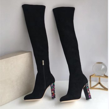 2018 autumn and winter new women's shoes over the knee boots female leather rhinestones with 9.5com with thick thin elastic high