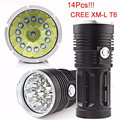 High Quality  34000LM 14x CREE XM-L T6 LED Flashlight Torch 4x 18650 Hunting Light Lamp