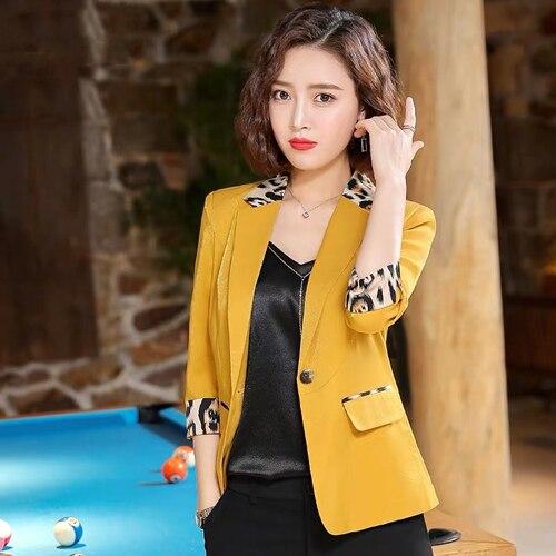 2019 Summer Blazer Women Jacket Leisure Leopard Patchwork Pink Blazer Women Small Suit Slim Plus Size Office Lady