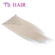 #60 Popular Clip in Hiar Extensions brazilian vingin Human Hair Blonde #60 7pcs/8pcs bundles clip in hair extension on sale