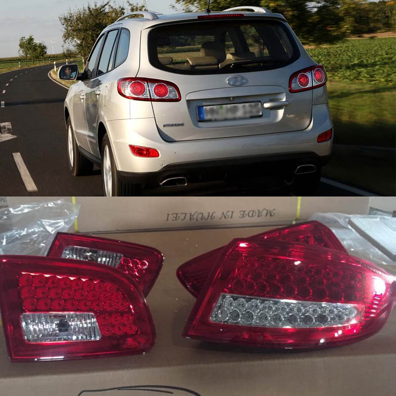 Ownsun High Quality LED Brake Lights+Reversing Lights+Turn Singnal Car Rear Taillights Tail Lamps For Hyundai Santa Fe 2006-2012 automotive halogen lamps tail lights rogue reversing lights brake lights beep sound the alarm lamp