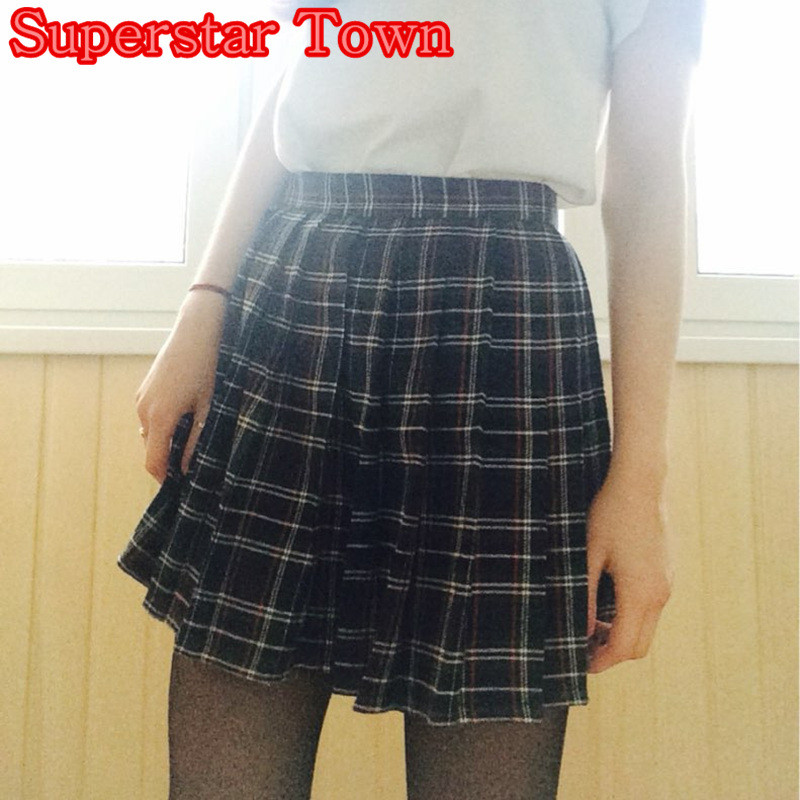 School Uniform Plaid Pleated Mini Skirt Girls Summer Deep Blue Plaid Skirts For Women School Clothing Saias Female Harajuku