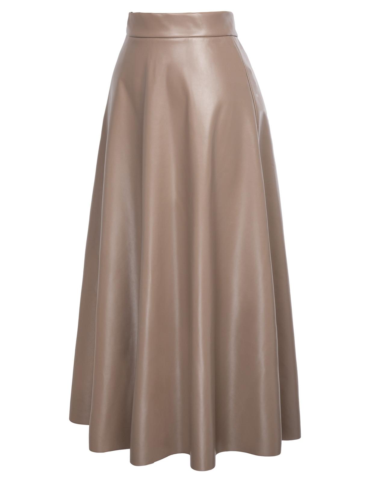 2018 Autumn Winter Women Skirt Fashion PU Leather Solid Long Skirt High Waist Pleated Swing Vintage Maxi Skirt Saias XL
