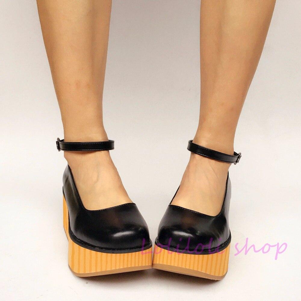 Princess sweet lolita shoes Japanese design customized special shaped black matt wooden pattern platform shoes 9954nana