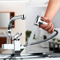 Centerset Contemporary Two Spouts Kitchen Faucet Deck Mounted Pull Out Sink Mixer Tap Chrome 360 Degree Swivel