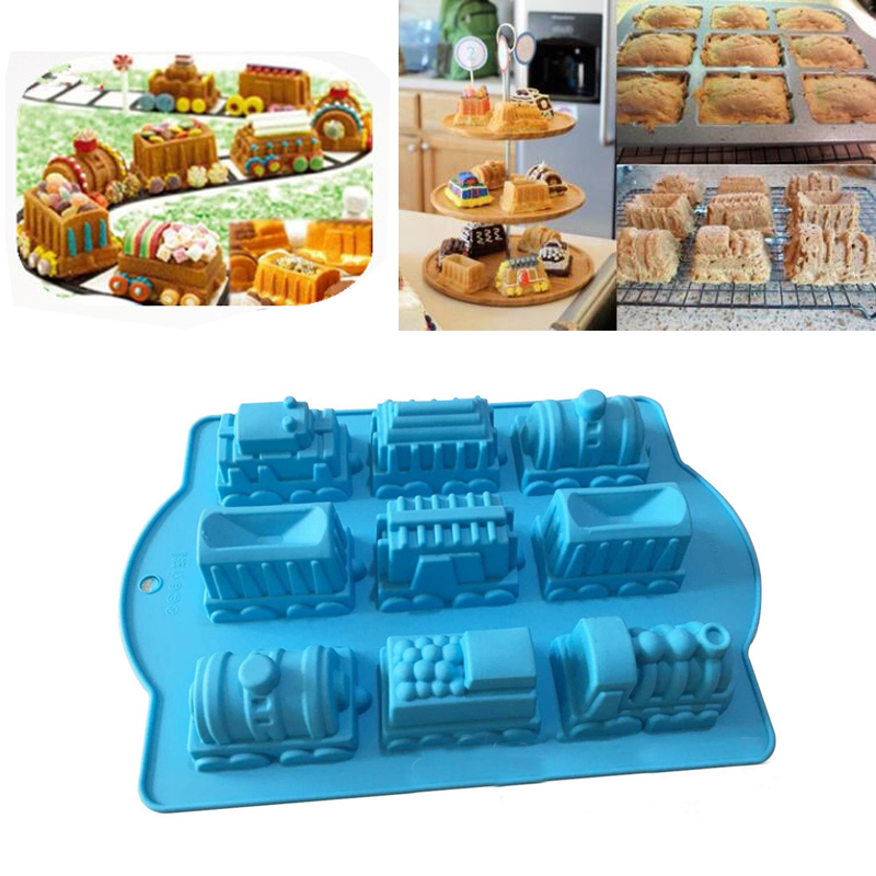 Train Car <font><b>Silicone</b></font> <font><b>Mold</b></font> <font><b>Fondant</b></font> <font><b>Cake</b></font> <font><b>Decor</b></font> Soap Clay <font><b>Molds</b></font> DIY Chocolate Candy Cookie Pudding Ice Mould Bakeware Baking <font><b>Tool</b></font> image
