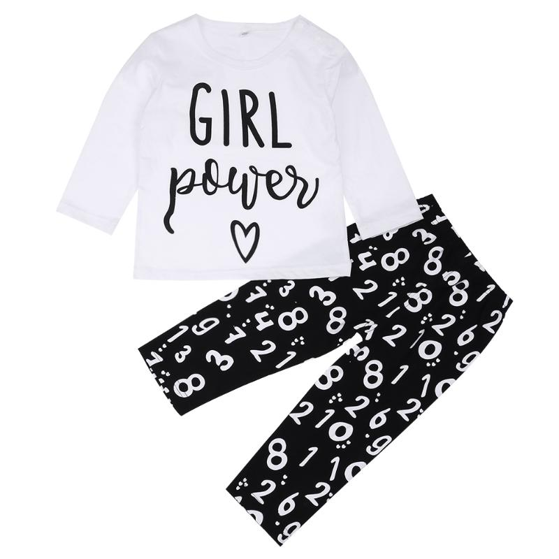 Newborn Baby Cotton Soft Clothes Set Cute Letters T-shirt + Pants Outfits cotton long-sleeved Newborn baby girl clothing set