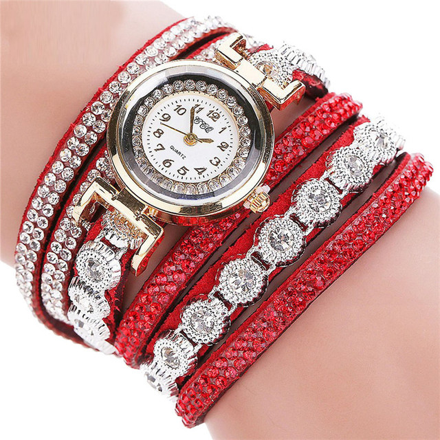 CCQ Women Bracelet Watches Crystal PU Leather Quartz Watch Winding Vintage Ladie