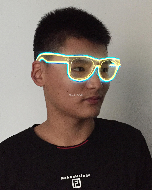 432ddadc7b6dc EL Fio Neon Óculos 50 pcs óculos de Sol LED + 3 V Constante on ...