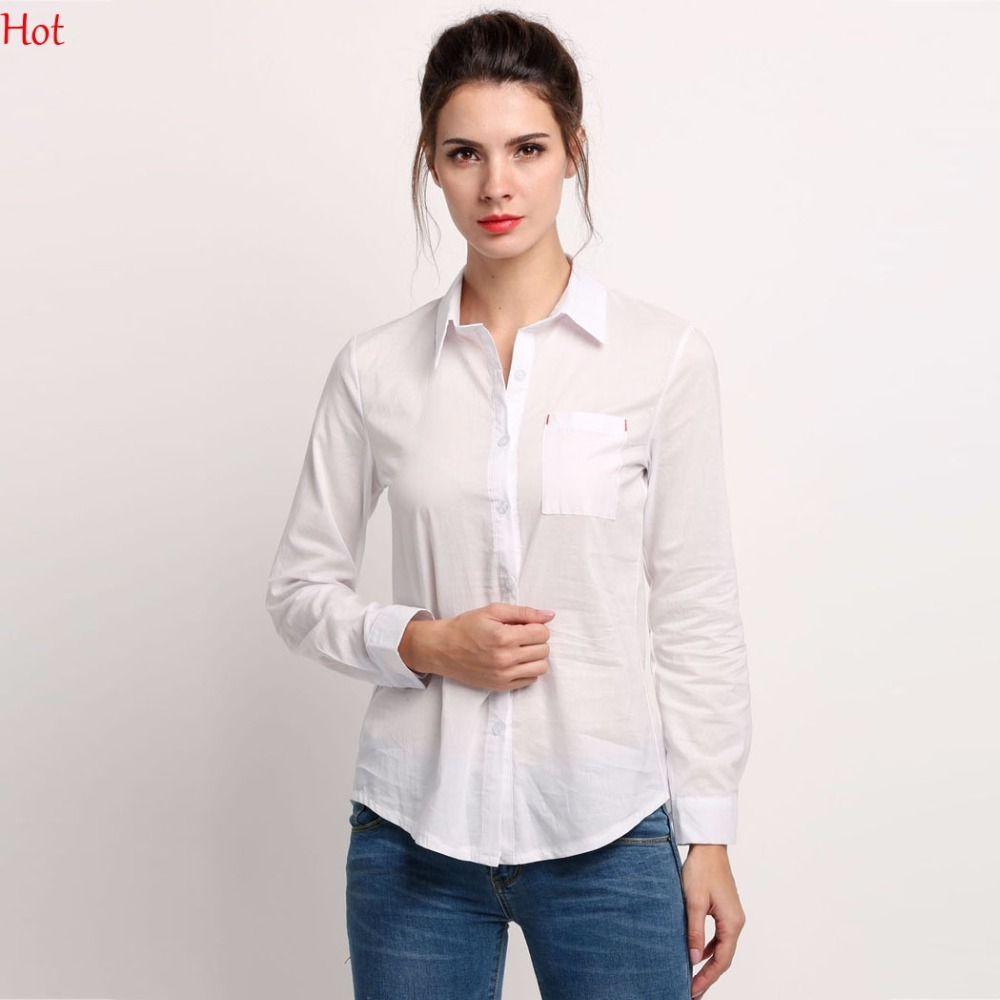 Long White Collared Button Down Shirt Promotion-Shop for ...