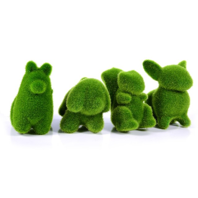 Christmas Handmade Artificial Turf Grass Animal Easter Rabbit Home Office Ornament Room Office Wedding Decor Easter Bunny Party 4