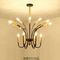 Lustre de madeira iluminação sala de jantar preto e27 ac 90-260 v lustres modernos para quartos