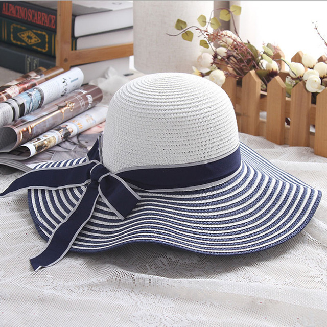 f761d88900e68d 2017 Hot Sale Fashion Hepburn Wind Black White Striped Bowknot Summer Sun  Hat Beautiful Women Straw