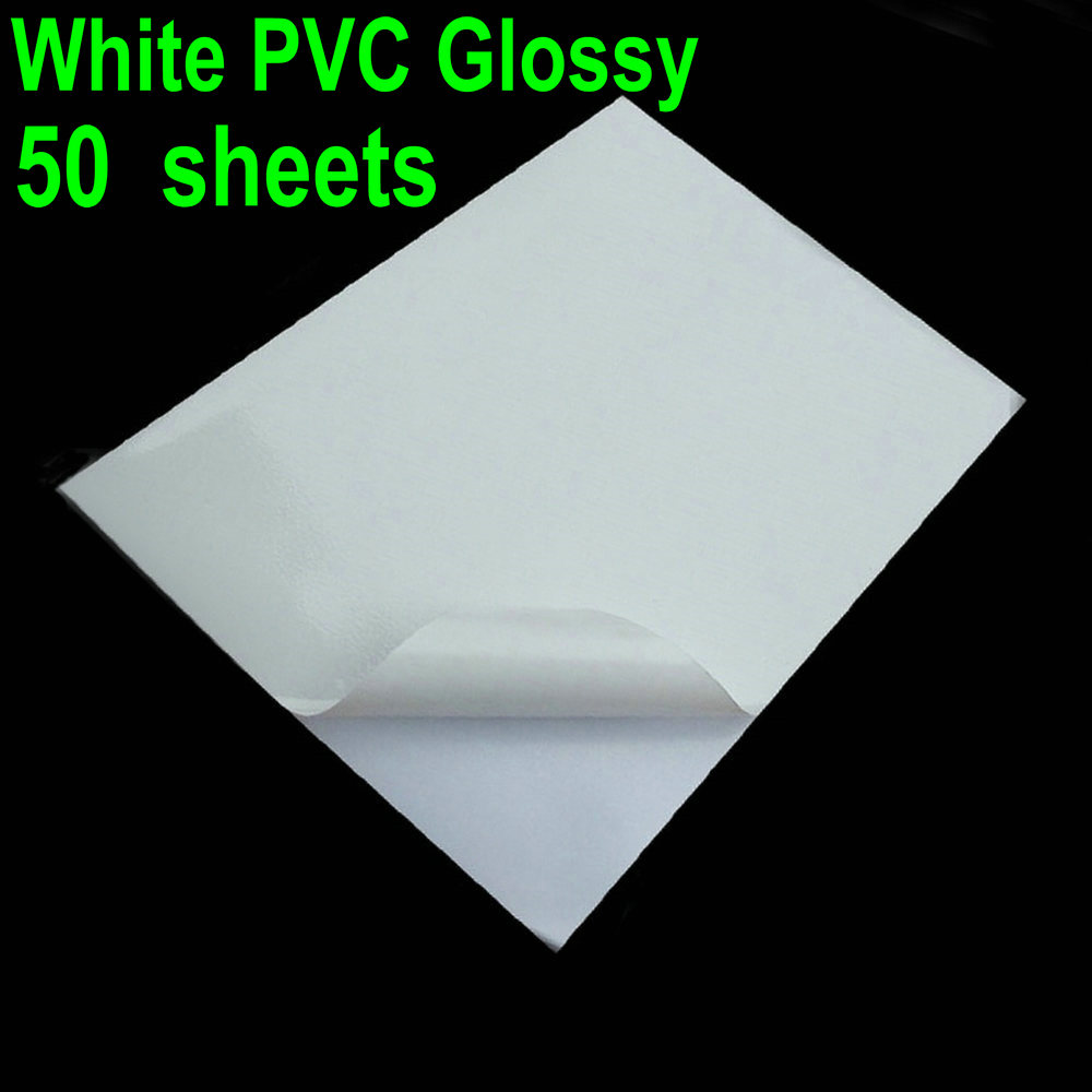 50 Sheets Glossy & White PVC A4 Sticker Vinyl PVC Super White Waterproof Sticker ONLY For Laser Printer