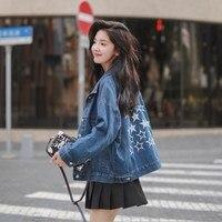 Boyfriend Style Blue Denim Bomber Jacket Women Short Design Jeans Jackets Coats Stars Casual Streetwear Outwear Veste Femme