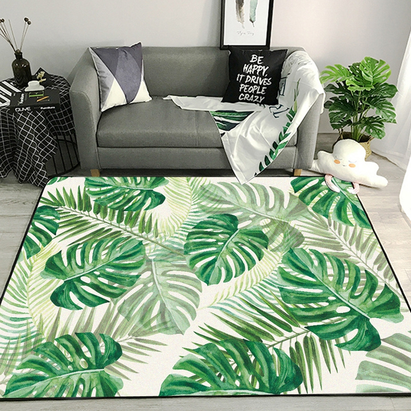 Green Tropical Leaf Printed Carpets And Rugs Living Room Table Chair Sofa Bedroom Anti-Slip Floor Mats Bathroom Kitchen Tapete