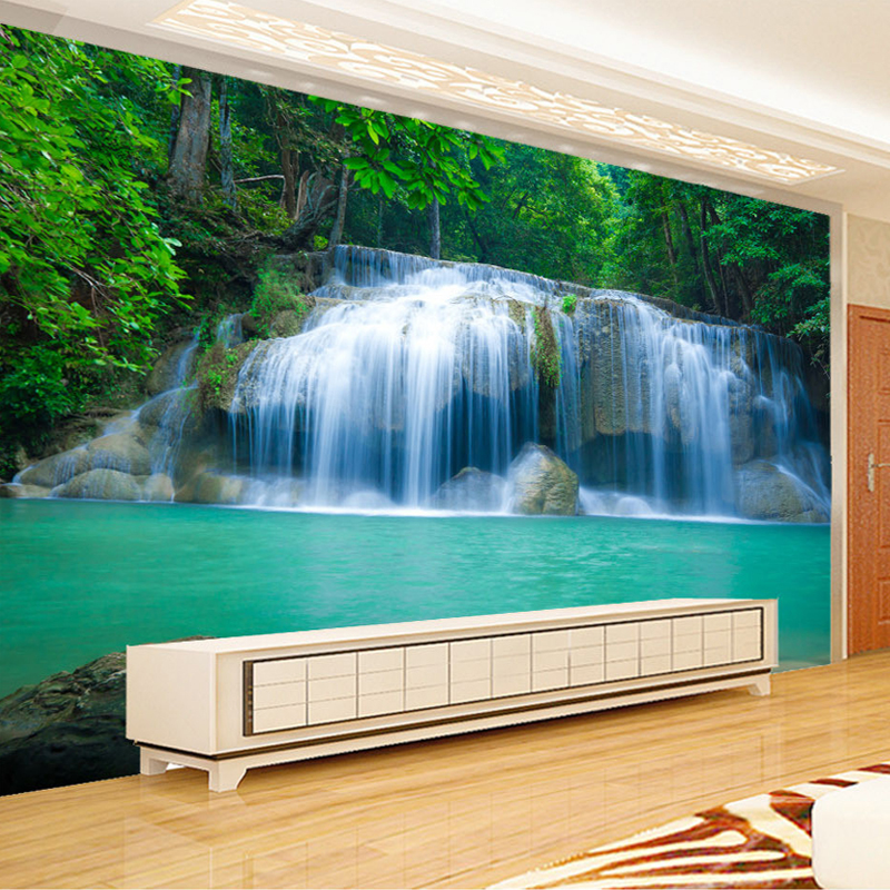 Us 8 96 52 Off Custom Wall Mural Wallpaper Waterfall Nature Landscape Wall Painting Living Room Tv Background Wall Papers Home Decor Modern 3d In