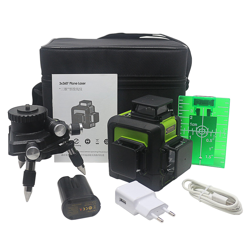 Ketotek 3D 12 Lines Green Laser Level Self-Leveling 360 degree Horizontal Vertical Cross Rechargeable Battery Outdoor Pulse Mode