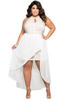 2017 das Mulheres Novas do Verão Sexy Preto Sem Mangas Branco Elegante Lace Ocasião Especial Plus Size Vestido Maxi Halterneck LGY61037