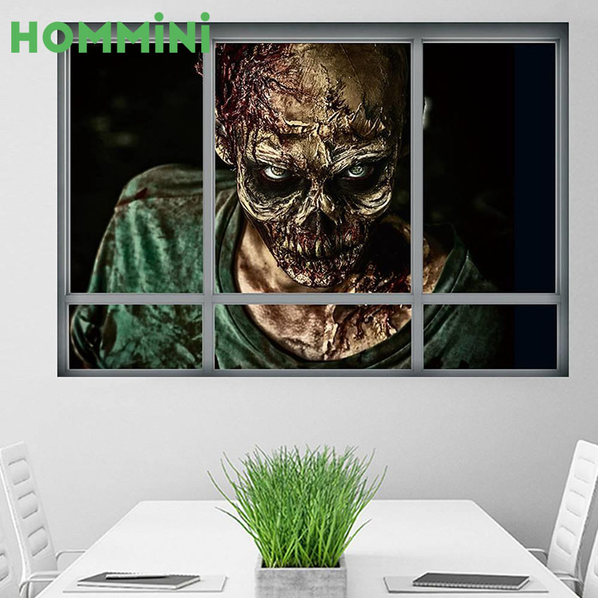 HOMMMINI 3D Halloween Wall Window Stickers Murals Scary Zombie Ghost