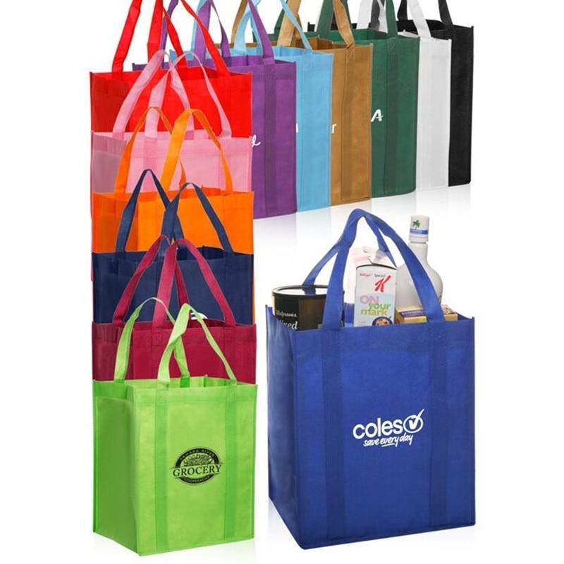 Funktionale Taschen Einkaufstaschen SchöN Großhandel 1000 Teile/los 38hx32x22cm Personifizierte Reusable Non Woven Taschen Einkaufstasche Einkaufstaschen Mit Gedruckt Logo