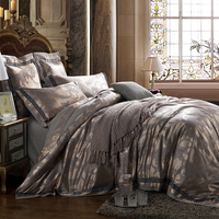 IvaRose 4/6pcs Jacquard Bedlinen Queen King Size Duvet cover Set Silk and Cotton Bedding Sets